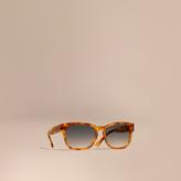 Burberry Check Detail Square Frame Sunglasses