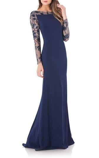 Carmen Marc Valvo Mesh & Crepe Gown