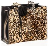Black Leopard Print Calf Hair and Leather Tote
