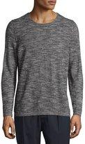Vince Cashmere-Blend Melange Long-Sleeve Shirt, Black/White