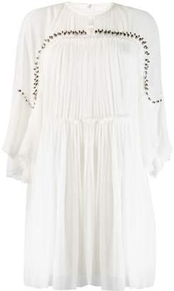 Chloé metallic studded pleated dress
