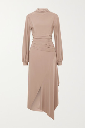 Aaizél aaizel - Net Sustain Asymmetric Draped Stretch-jersey Turtleneck Midi Dress - Taupe