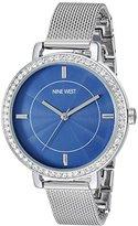 Nine West Women's NW/1833BLSB Swarovski Crystal Accented Silver-Tone Mesh Bracelet Watch