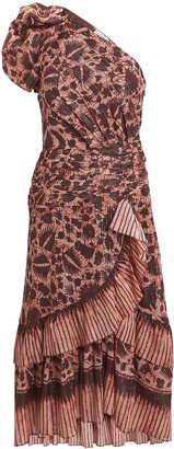 Ulla Johnson Anja Floral One-Shoulder Dress