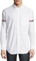 Thom Browne Striped Armband Oxford Shirt, White