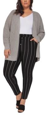 Black Tape Plus Size Metallic Open-Front Cardigan