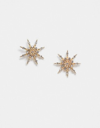 Pieces star stud earrings in gold