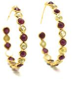 Tresor Collection - Organic Diamond & Ruby Hoop Earrings Set In 18K Yellow Gold