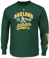 "Majestic Oakland Athletics MLB ""Flawless"" Men's Long Sleeve T-Shirt - Green"