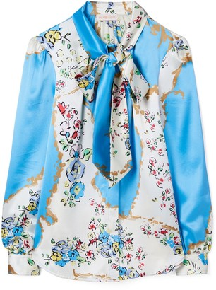 Tory Burch Printed Satin Bow Blouse