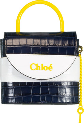 Chloé Blue and Yellow Small Aby Lock Bag