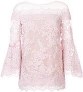 Marchesa off-shoulders flared lace blouse - women - Silk/Nylon - 6