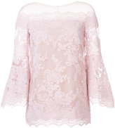 Marchesa off-shoulders flared lace blouse