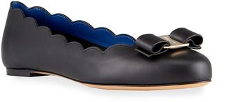 Salvatore Ferragamo Varina Leather Scallop Bow Ballerina Flats