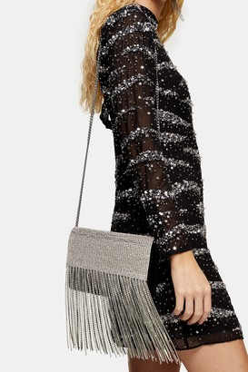 Topshop DISCO Silver Diamante Cross Body Bag