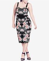 City Chic Trendy Plus Size Floral-Print Bodycon Dress