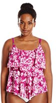 Maxine Of Hollywood Women's Plus-Size Santorinis Rose Tiered Tankini