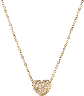 David Yurman Heart Pendant Necklace in 18K Gold with Pave Diamonds