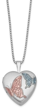 Versil Sterling Silver Rhodium-plated 16mm Enameled Butterfly Heart Locket 18-inch Necklace
