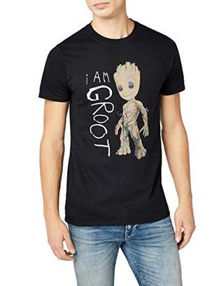 Marvel Men's Guardians of The Galaxy Vol.2 I Am Groot Scribles Crew Neck Short Sleeve T-Shirt,Small