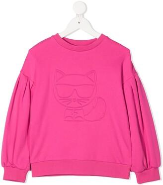 Karl Lagerfeld Paris Debossed Cat Sweatshirt