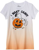 "Mighty Fine Girls 7-16 I Want Candy"" Ombre Halloween Graphic Tee"