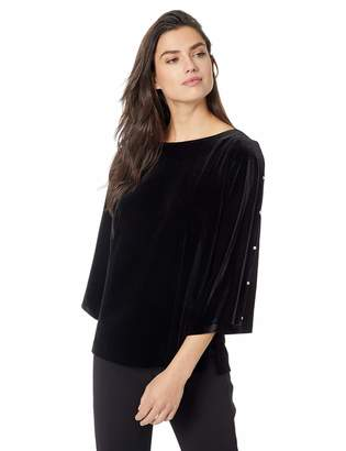 Alex Evenings Women's Velvet Blouse Top (Multiple Styles Petite and Regular Sizes)
