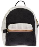 Kenzo Kombo Black/white Cotton And Leather Backpack