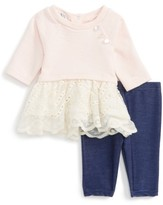 Infant Girl's Pippa & Julie Vintage Dress & Leggings Set