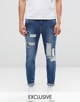 Brooklyn Supply Co. Brooklyn Supply Co Indigo Patched Worn Dumbo Jeans