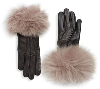 UGG Shearling-Cuff Leather Gloves