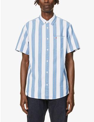 Tommy Jeans Seersucker stripe cotton short sleeve shirt