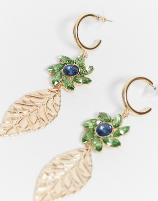 ASOS DESIGN earrings with crystal flower and leaf drop in gold tone