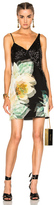 Lanvin Sleeveless Mini Dress in Black,Floral,Green.