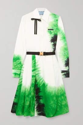 Prada Belted Tie-dye Cotton-poplin Dress - White