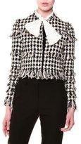 MSGM Tweed Houndstooth Jacket, Black/White