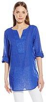 Chaus Women's Three Quarter Sleeve Roll Tab Split Neck Linen Shirt