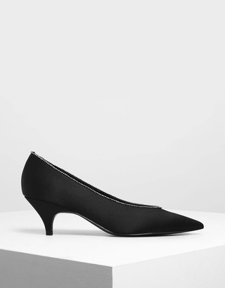 Charles & KeithCharles & Keith Gem Embellished Satin Kitten Heel Court Shoes