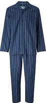 John Lewis Ealing Stripe Brushed Cotton Pyjamas, Blue