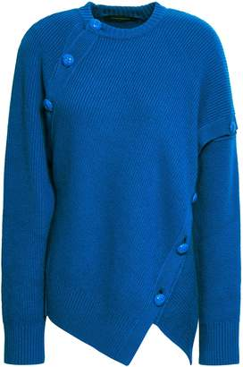 Cédric Charlier Button-detailed Wool And Cashmere-blend Sweater