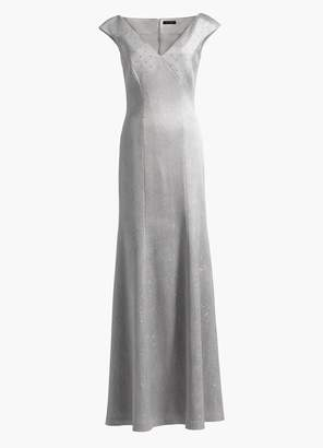 St. John Sequined Birdseye V-Neck Gown
