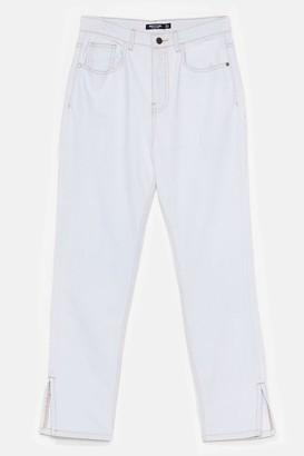 Nasty Gal Womens Split It Both Ways High-Waisted Mom Jeans - White - 6, White