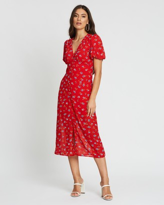 boohoo Floral Button Front Plunge Midi Dress