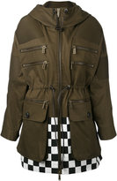 DSQUARED2 checkered detail parka - women - Cotton - 36