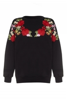 Quiz Black And Red Flower Embroidered Jumper