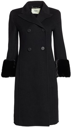 Fendi Mink Fur-Cuff Double-Breasted Cashmere Coat