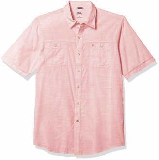 Izod Men's Big & Tall Slim Fit Saltwater Dockside Chambray Short Sleeve Button Down Solid Shirt