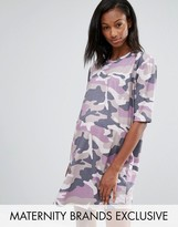 Missguided Maternity Camo T-Shirt Dress