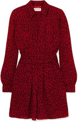 Saint Laurent Leopard-print Crepe De Chine Mini Dress