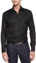 Salvatore Ferragamo Tonal Gancini-Print Jacquard Shirt, Black